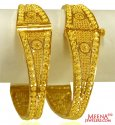 22K Gold Filigree Kada Pair - Click here to buy online - 2,167 only..