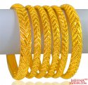 22K Gold Bangles Set of 6 - Click here to buy online - 5,641 only..