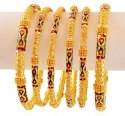 22K Traditional Meena Bangles Set