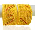 22Kt Gold Three Tone Kada (Pair) - Click here to buy online - 7,012 only..