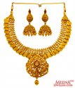 Click here to View - 22K Gold Antique Kasu Necklace Set