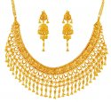 Click here to View - 22K Filigree Bridal Necklace Set