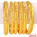 22 kt Gold Bangles Set (Set of 6) - Click here to buy online - 4,398 only..
