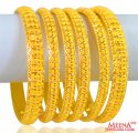 22K Gold Bangles Set of 6 - Click here to buy online - 5,910 only..