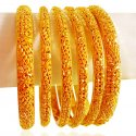 Click here to View - 22kt Gold Bangles Set (6 PCs)