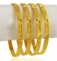 22 Kt Gold Machine Bangles (4Pcs)