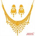 22Kt Gold Necklace Earring Set - Click here to buy online - 3,549 only..