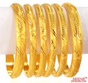 22 kt Gold Bangles Set (Set of 6) - Click here to buy online - 5,355 only..