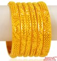 22k  Gold Filigree Bangles Set of 6