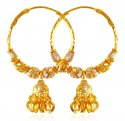 22K Gold Balls Hoop Earrings  - Click here to buy online - 775 only..