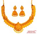 22K Gold Antique Kasu Necklace Set - Click here to buy online - 4,184 only..