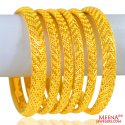 22K Gold Bangles Set of 6 - Click here to buy online - 6,015 only..