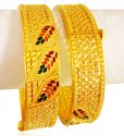 22KT Gold Designer Kada (2Pcs) - Click here to buy online - 2,987 only..