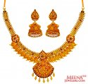 22 Kt Gold Antique Necklace Set - Click here to buy online - 3,667 only..