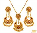 22 Kt Gold Ruby Pearl Pendant Set - Click here to buy online - 2,035 only..