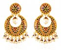 22K Gold Meenakari Chand Baali - Click here to buy online - 1,432 only..