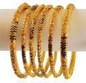22K Traditional Meena Bangles Set - Click here to buy online - 4,236 only..