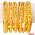 22K Gold Bangles Set of 6 - Click here to buy online - 4,977 only..