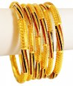 22K Traditional Meena Bangles Set - Click here to buy online - 5,579 only..