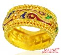 22 Karat Gold Meenakari Ring  - Click here to buy online - 838 only..