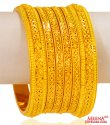 22 Kt Gold Bangles (Set of 6)  - Click here to buy online - 6,362 only..