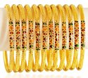 22K Gold Meenakari Bangles Set 12PC - Click here to buy online - 6,664 only..