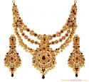 22K Gold Ruby Bridal Necklace Set