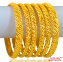 22 Kt Gold Bangles Set 6pcs - Click here to buy online - 5,682 only..