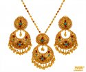 22 kt Gold Chand Bali Pendant Set - Click here to buy online - 2,588 only..