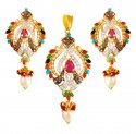 22k Gold Precious Stone Pendant Set - Click here to buy online - 1,164 only..