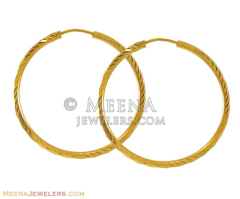 22K Yellow Gold Hoops ErHp8055 22K yellow gold plain hoop