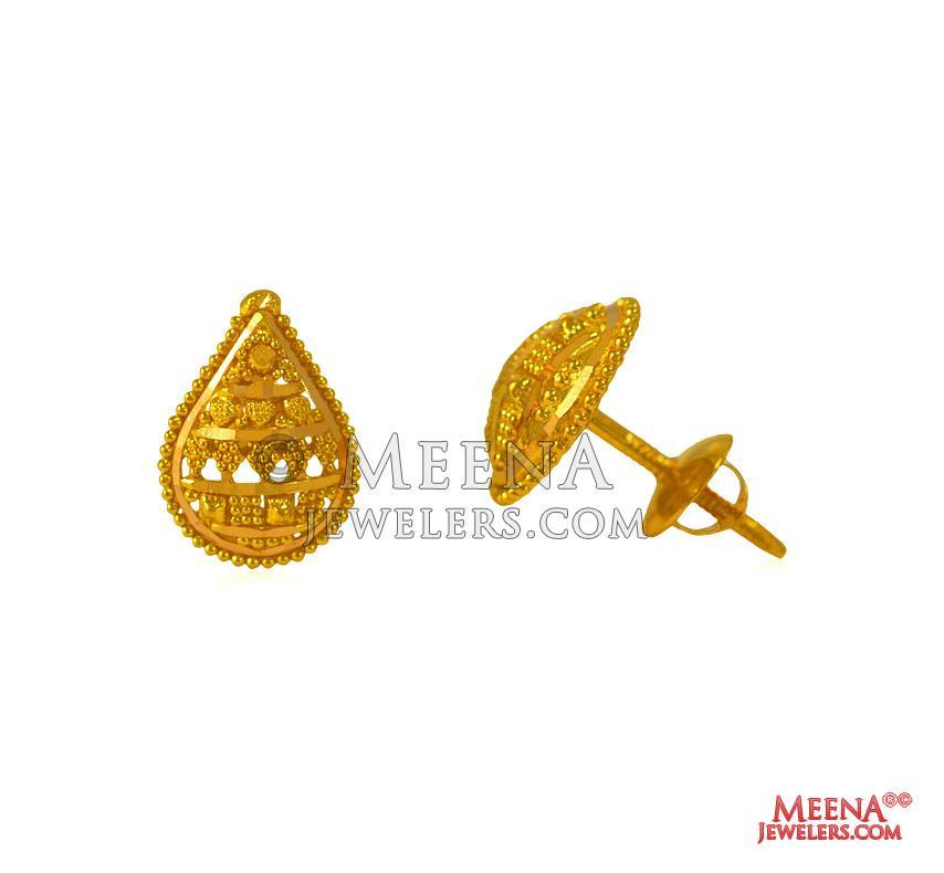 ed56d1e92 22k Gold Earrings - ErGt25056 - 22 kt Gold Earring / Tops are ...
