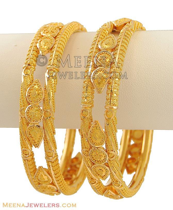 22k Designer Bangles (set of 2) - BaKa9880 - 22k gold bangles (2 ...