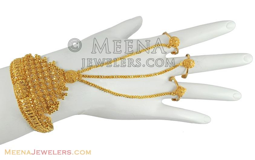 453b07f3bba6c 22Kt Gold Bridal Bracelet - BrLa5142 - 22k Gold bridal bracelet with ...