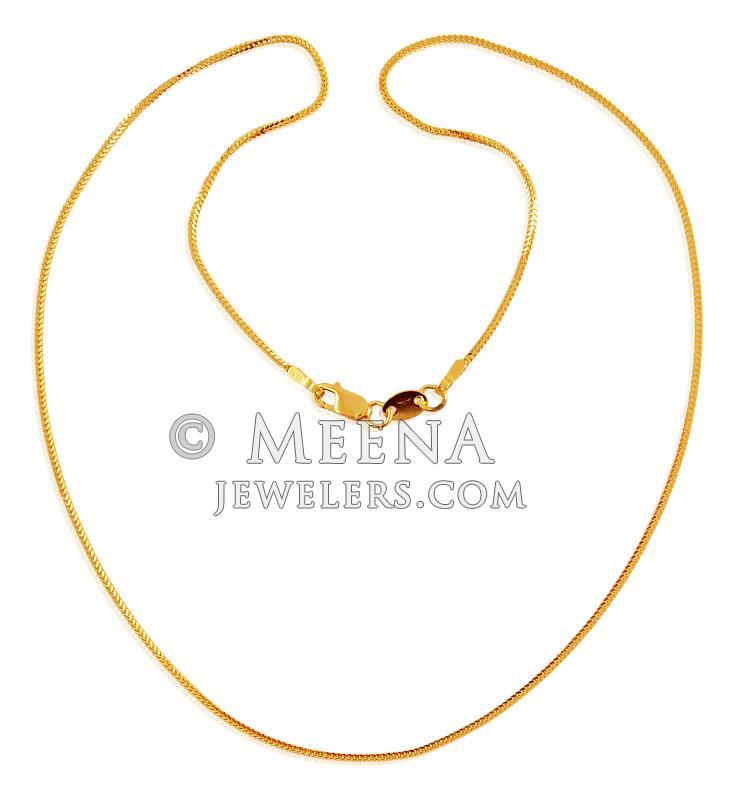 22K Gold Chain (16 Inch) - chpl17259 - 22K Gold Chain designed in ...