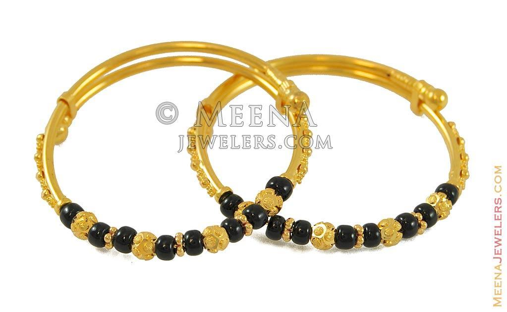 Black Beads Baby Bangle(22k)(2 pcs) - BaBa7766 - 22k yellow gold ...