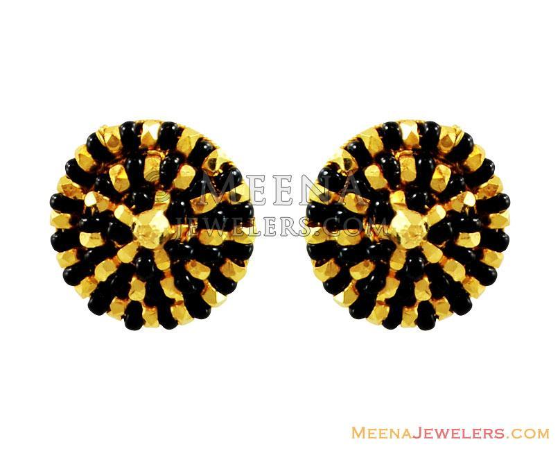 Fancy Black Bead Earrings 22k Gold