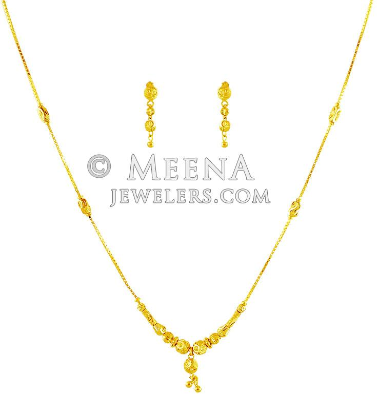 Fancy Gold Balls Necklace Set