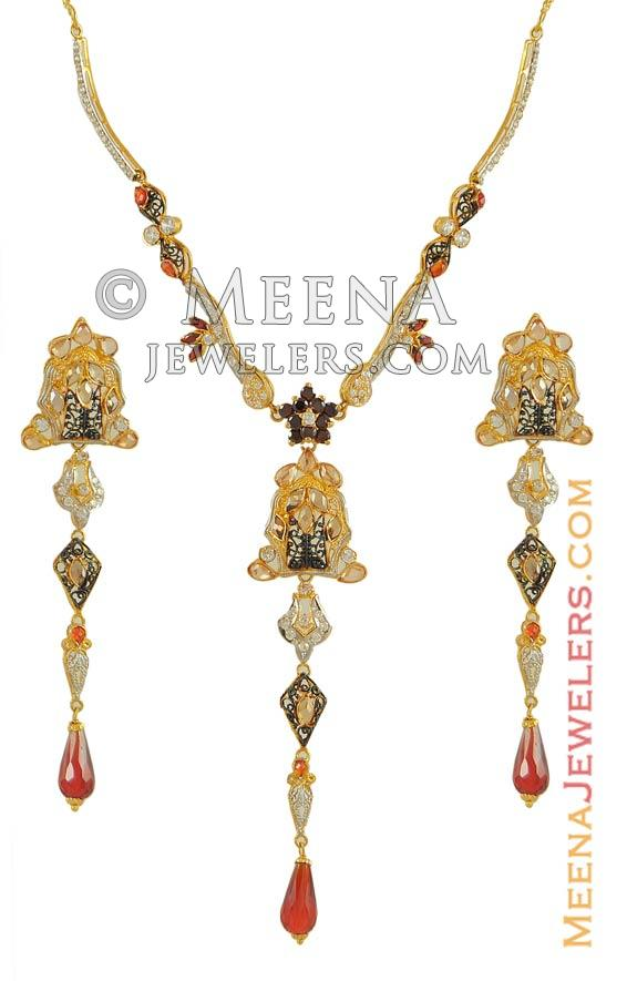 22k Gold Pakistani Set - StGd7167 - 22k gold pakistani necklace ...