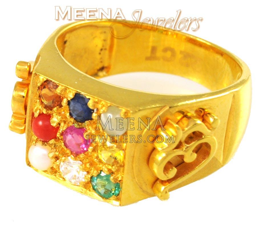 22Kt Gold Mens Navratan Rings RiMs1509 22Kt Gold Mens Navratan