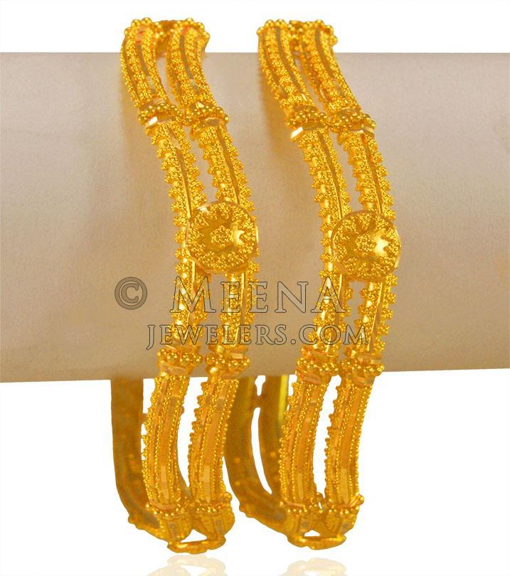 9e2a42300 22 Karat Gold Kada (2 PCs) - BaGo23420 - 22Kt Gold Filigree Kada ...