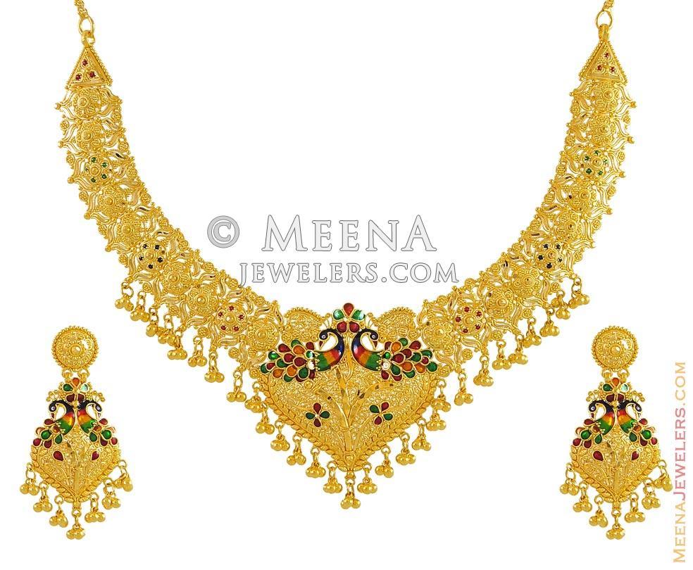 22k Gold Set Peacock Design Stgd9493 22k Gold Necklace And