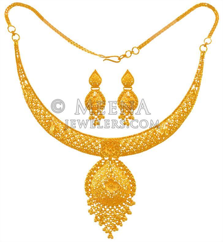 f4eba62be16 22K Gold Necklace Set - stls23391 - 22K Gold necklace and earring ...
