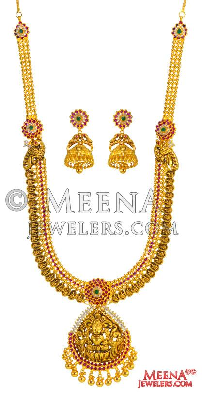 fc621ab33cfc4 22 Kt Temple Necklace Set - StAn25186 - 22Kt Gold Necklace and ...