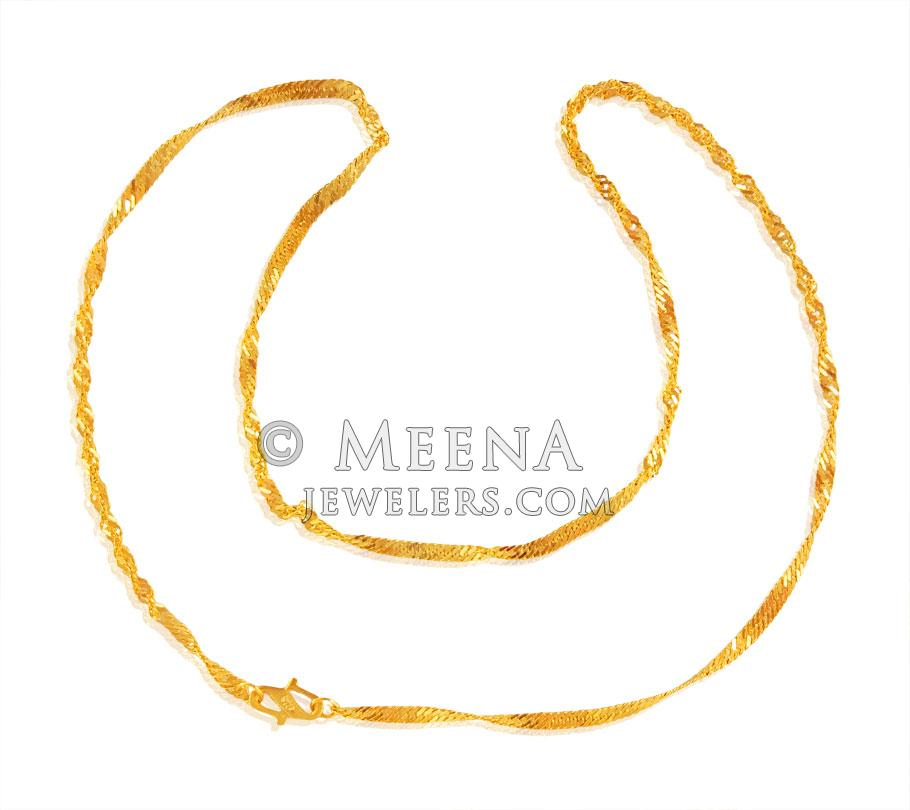 22Kt Gold Chain (16 Inch) - ChPl22770 - US$ 377 - 22KT Gold disco ...