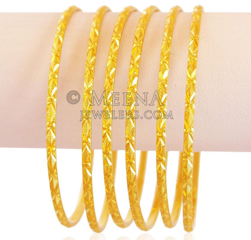 Indian Gold Bangles Set(Set of 6) - BaSt18048 - 22k Indian gold ...