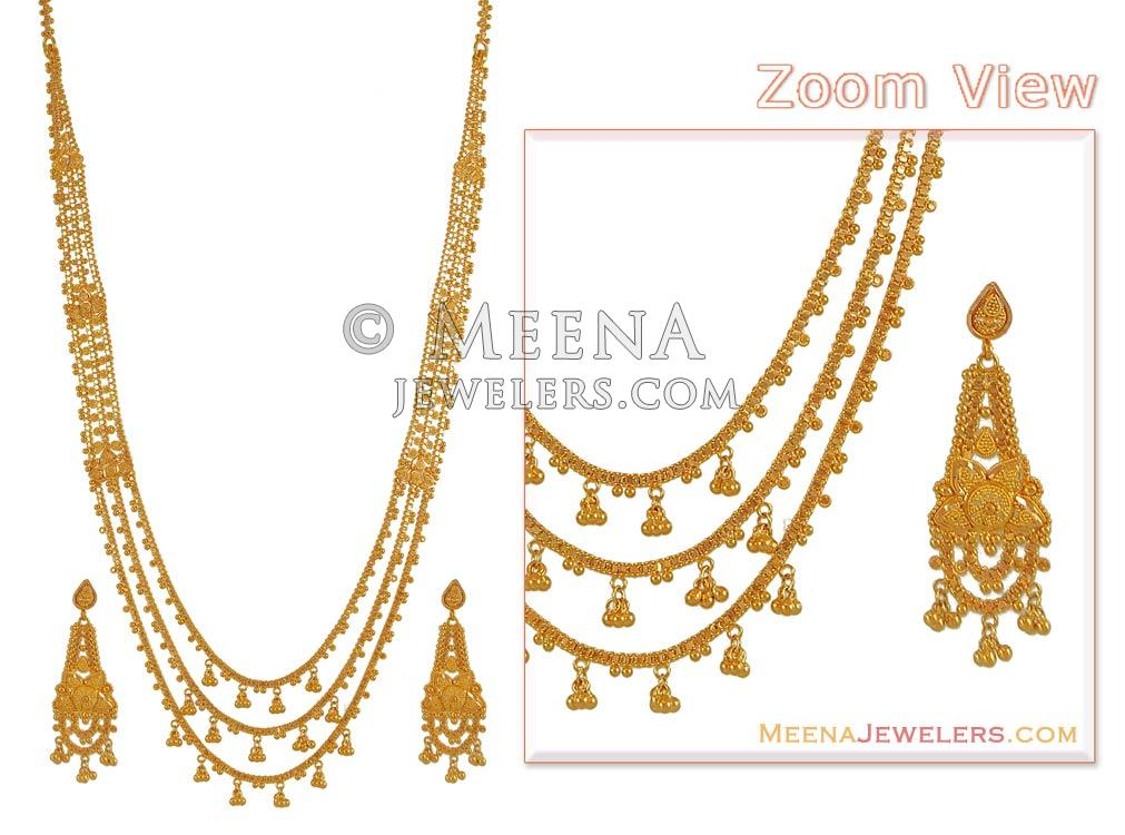 22Kt Gold Chandra Haar - StBr7380 - 22K Gold Necklace and Earrings ...