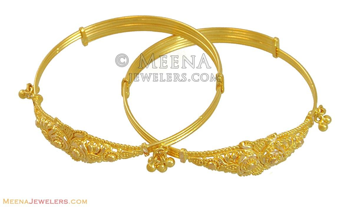 22k Filigree Kids Bangles(2 pcs) - BjBa10492 - 22k gold bangles ...
