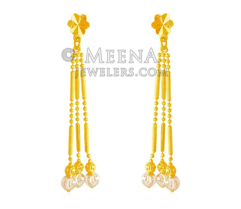 22Kt Long Gold Earring with white gold work ErLn 22k Gold