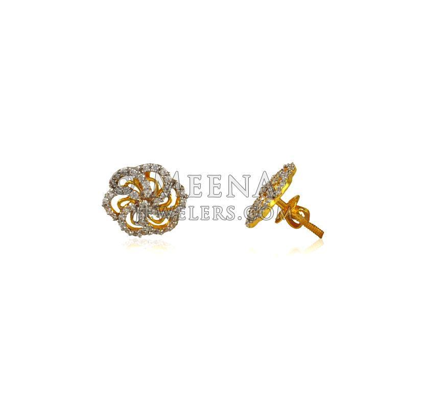 fc31296d5 22 Karat Fancy Gold Tops with CZ - ErSi24407 - 22k gold earrings ...